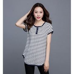 Eloqueen - Short-Sleeve Striped Buttoned Top
