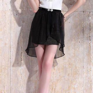 Moonbasa - Wrapped Chiffon-Overlay Glitter Miniskirt