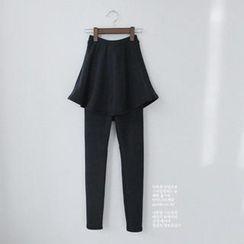 GOROKE - Inset Fleece-Lined Skirt Leggings