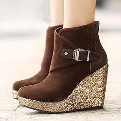 Mancienne - Glitter Wedge Ankle Boots