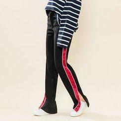Heynew - Contrast Trim Slit Pants