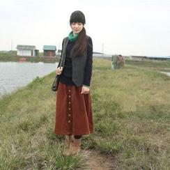 兰芝 - 钮扣A字连衣中裙
