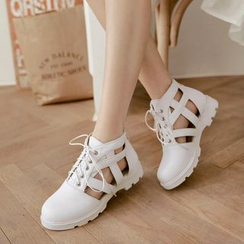Pretty in Boots - Cutout Lace Up Shoes