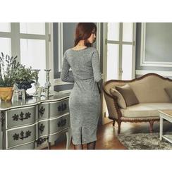 UUZONE - V-Neck Twist-Trim Bodycon Dress