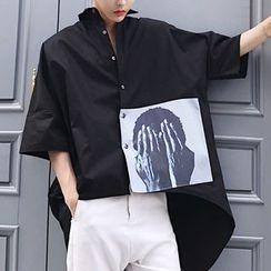 Bjorn - Printed Elbow-Sleeve Dip-Back Shirt