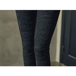 UUZONE - Distressed Skinny Pants