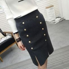 Hibisco - Double-Breasted Slit Pencil Skirt