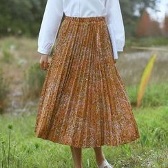 sansweet - Floral Pleated Midi Skirt
