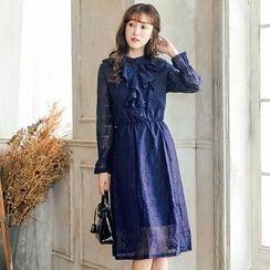 Tokyo Fashion - Long-Sleeve Ruffle-Trim Dress
