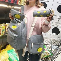 I.O.U - 套装:印花帆布背包 + 单肩包 + 小袋 + 笔盒