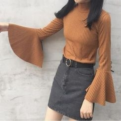 Cloud Nine - Ribbed Bell-Sleeve Knit Top