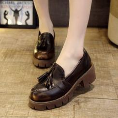 Kicko - Platform Block Heel Tassel Loafers