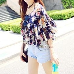 Jolly Club - Floral Layered Chiffon Cropped Top