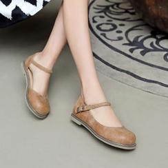 Pastel Pairs - 編織帶瑪莉珍平跟鞋