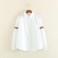 Mushi - Stripe Trim Long-Sleeve Shirt