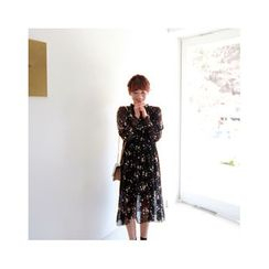 LEELIN - Set: A-Line Chiffon Dress + Slipdress