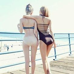 LANYI - Plain Lattice Swimsuit