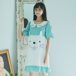 Moricode - Mouse Face Embroidered Short Sleeve Dress