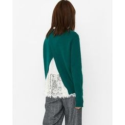 Someday, if - Cutout-Back Wool Blend Sweater