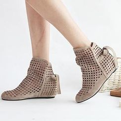 Sidewalk - Perforated Hidden Wedge Ankle Boots