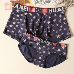 Paradise Isle - Star Print Couple Matching Panties / Boxer Briefs