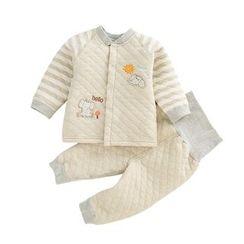 JIMIJIMI - 嬰兒套裝: 小象貼布繡絎縫夾克 + 褲