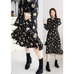DEEPNY - Ruffled Flower Print Chiffon Dress