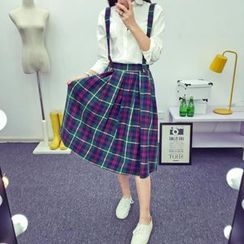Heybabe - Plaid Midi Suspender Skirt