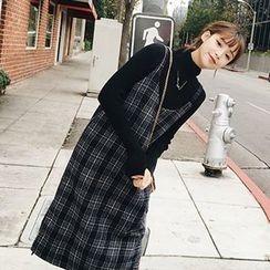 兰芝 - 格子细肩带连衣裙