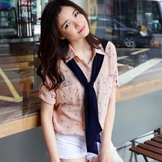 OrangeBear - Tie-Neck Printed Blouse