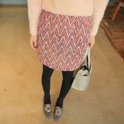 Cherryville - Patterned Tweed Mini Skirt