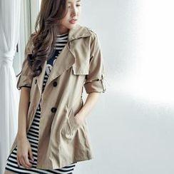 BAIMOMO - Tie-Waist Trench Coat