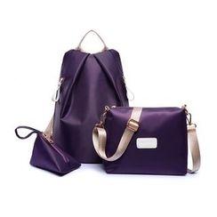 Velocia - 套装: 纯色尼龙背包 + 斜挎包 + 拉链小袋