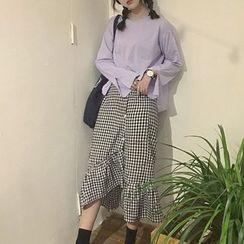 Miss Kekeli - Set: Plain Bell-Sleeve Top + Gingham Skirt