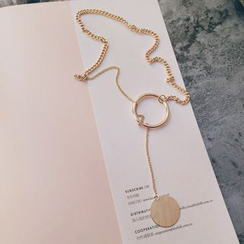 Ticoo - Circle Pendant Lariat Necklace