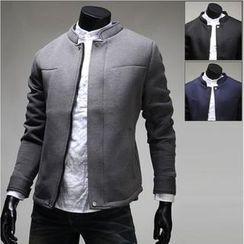 WIZIKOREA - Neoprene Mandarin-Collar Jacket