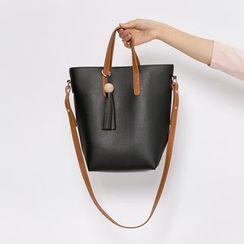 Heynew - Set: Tasseled Faux Leather Shoulder Bag + Zip Pouch