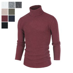DANGOON - Turtle-Neck Colored Rib-Knit Top