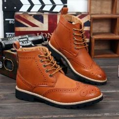 Preppy Boys - Lace-Up Perforated Ankle Boots