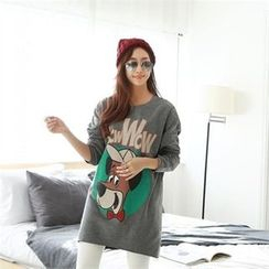PIPPIN - Drop-Shoulder Printed Pullover Dress