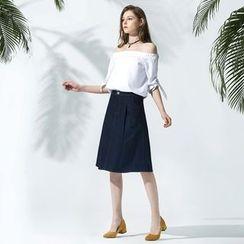 OrangeBear - Denim A-Line Skirt