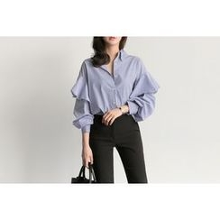 UPTOWNHOLIC - Ruffled-Trim Striped Shirt