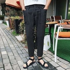Bay Go Mall - Pinstriped Panel Pants