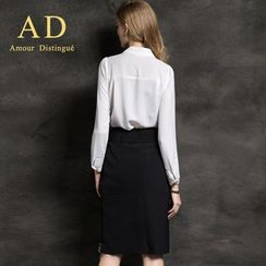 Aision - Chiffon Blouse / Belted Pencil Skirt