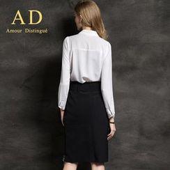 艾尚臣 - 雪紡襯衫/飾腰帶鉛筆裙