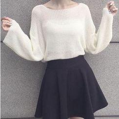 Octavia - Plain Bell-Sleeve Knit Top