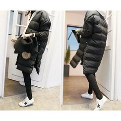 MARSHMALLOW - Snap-Button Padded Long Jacket