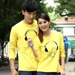 Porspor - Couple Matching Long-Sleeve Print T-Shirt