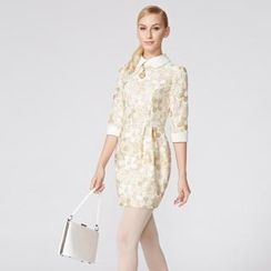 O.SA - Contrast-Cuff Collared Floral Dress