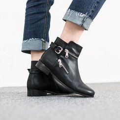 VIVIER - Zip-Detail Buckled Ankle Boots